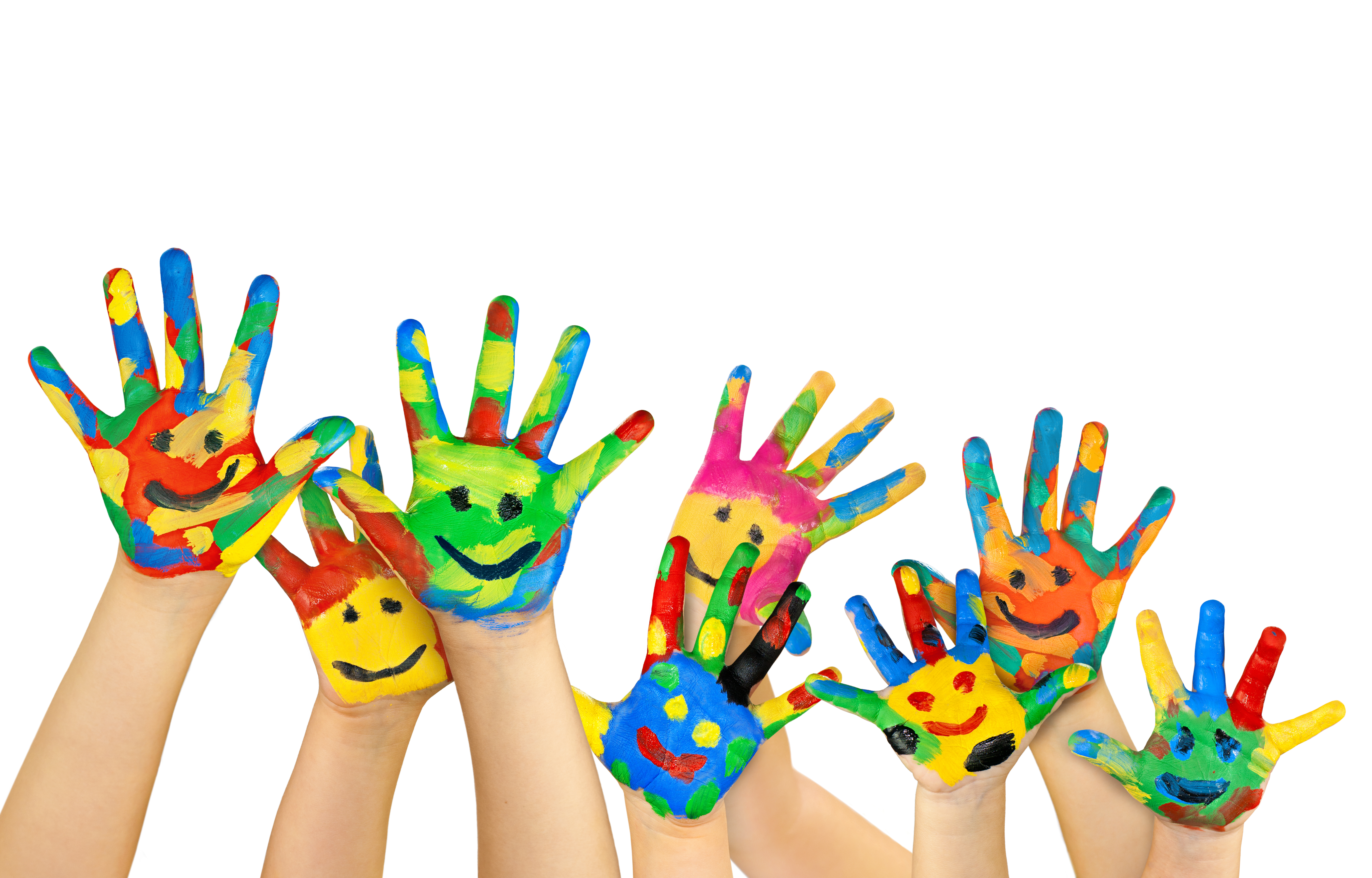 many painted colorful children's hands
