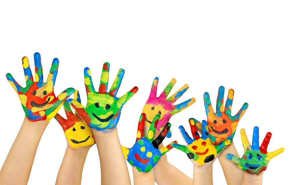 Painted colorful children's hands