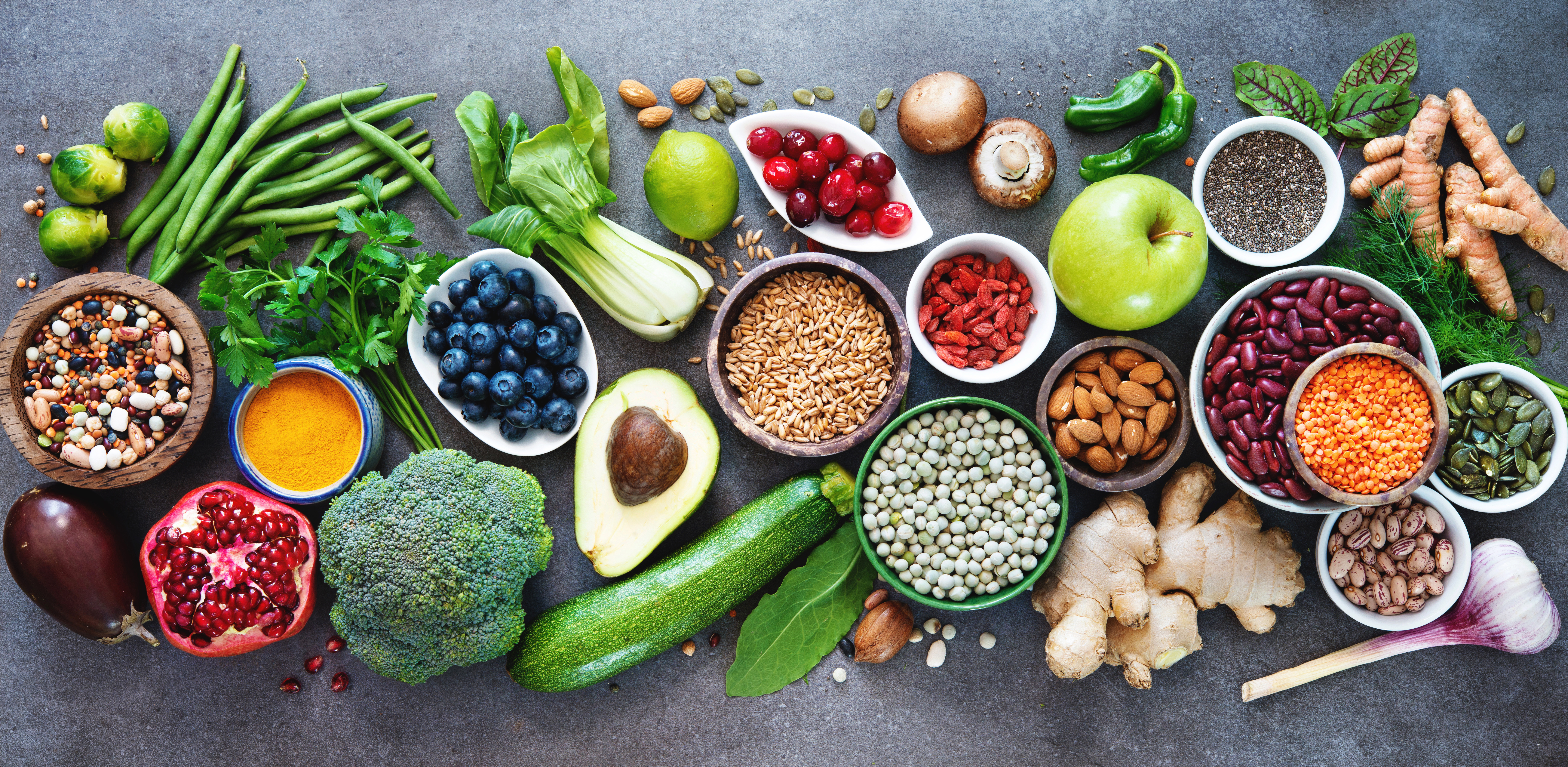 Healthy food selection with fruits, vegetables, seeds, superfood,